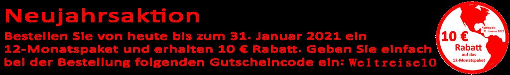 Neujahrsaktion 2021 - 10€ Rabatt auf das 12-Monatspaket