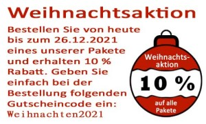 Weihnachsaktion 2021 - 10% Rabatt auf alle Pakete