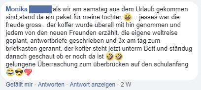 Facebook Kommentar zu Lukas und Lara auf Tour