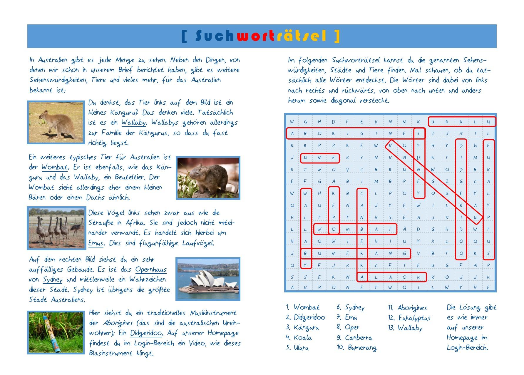 Aktionskarte Australien Lösung Seite 2-3