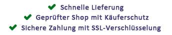 Sichere Zahlung, Zertifitierter Shop, SSL-Verschlüsselung